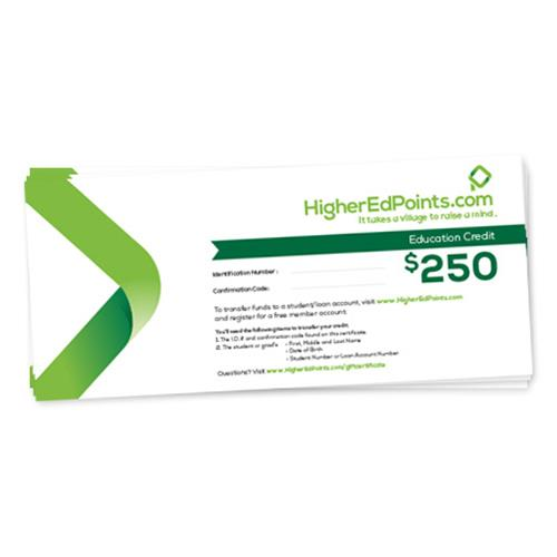 HigherEdPoints $250 Gift Certificate