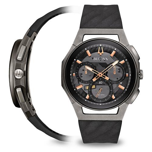 69b226186 Bulova Curv Stainless Steel Watch - World's First Curved Chronograph  Movement - Black Bezel – Men's