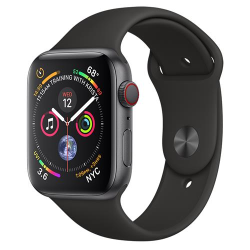 Apple Watch Series 4 GPS + Cellular, 44-mm Space Grey Aluminum Case with Black Sport Band
