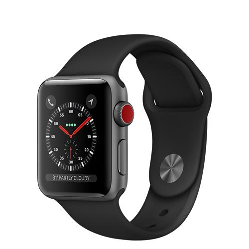 Apple Watch Series 3 GPS + Cellular, 42-mm Space Grey Aluminum Case with Black Sport Band