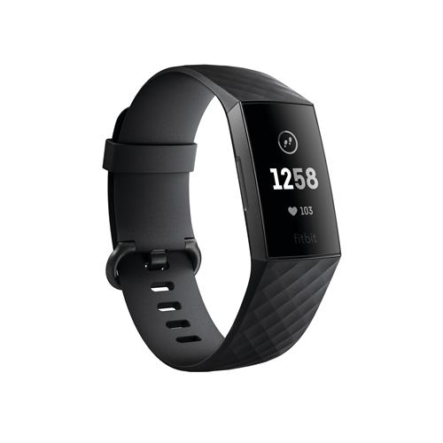 10% off- Fitbit Charge 3 - Graphite Aluminum Case with Black Band