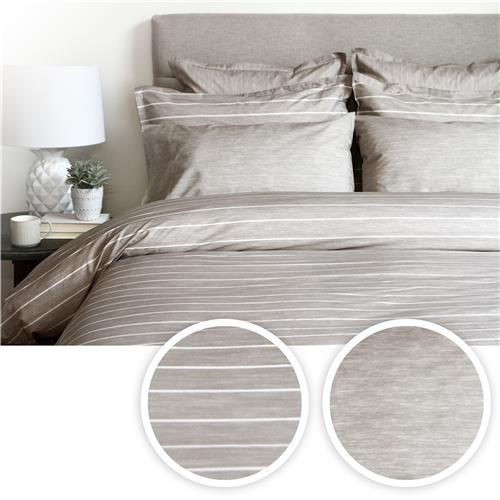 Cuddle Down Chambray Stripe 3-Piece Duvet Cover Set - Queen -Taupe