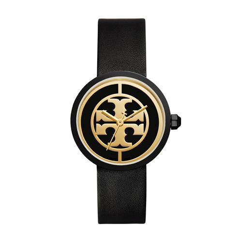 Tory Burch Reva 36-mm Ladies Watch - Black Leather/Steel