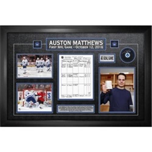 Collage Frameworth du premier match d'Auston Matthews avec rondelle autographiée et feuille de pointage