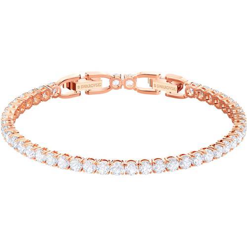 Swarovski® Tennis Round Bracelet Deluxe, M - White, Rose Gold