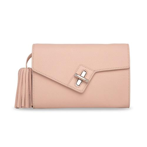 Ela Handbags MILCK Classic Clutch with Removable Tassel – Rose