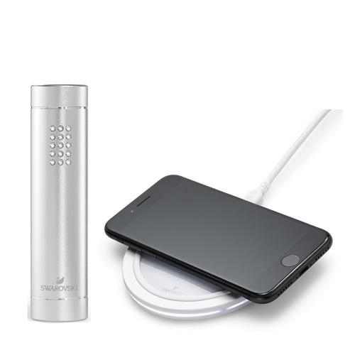 Swarovski® White Collection Wireless Charger & Power Bank Bundle - Crystal/White