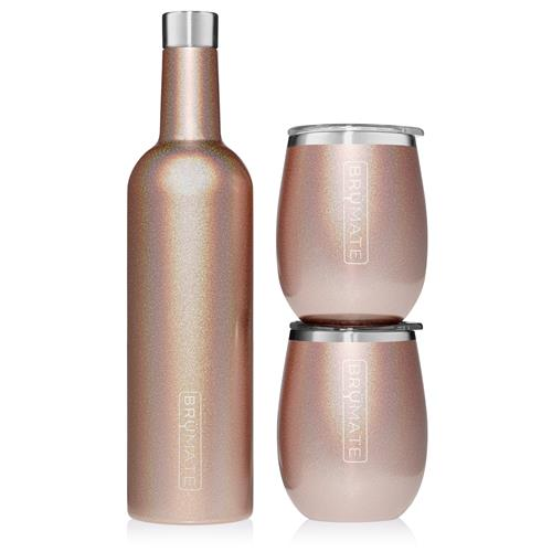 BruMate Glitter Winesulator + 2 XL Wine Glasses with Lids - Rose Gold