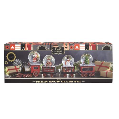FAO Schwarz 4-pc Train Snow Globe Set