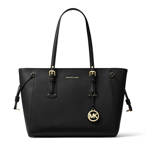 Michael Kors Voyager Medium Leather Tote – Black