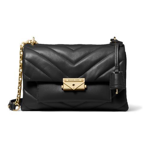 Michael Kors Cece Medium Quilted Leather Convertible Shoulder Bag – Black