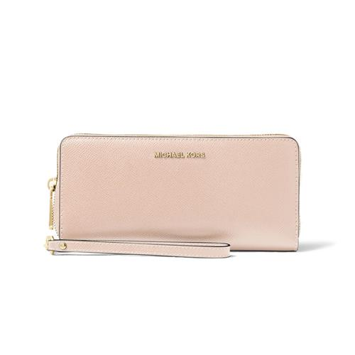 Michael Kors Leather Continental Wristlet - Soft Pink