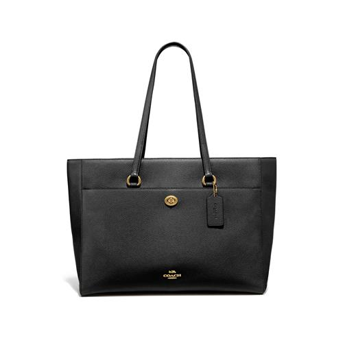 Coach® Crossgrain Leather Folio Tote - Black