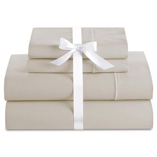 Cuddle Down Deluxe Impressions 4-Piece King Sheet Set - Sand