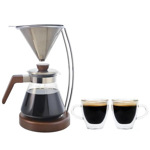 Grosche® Frankfurt Pour Over Coffee Brewer & Set of 2 Turin Double-Walled Espresso Cups