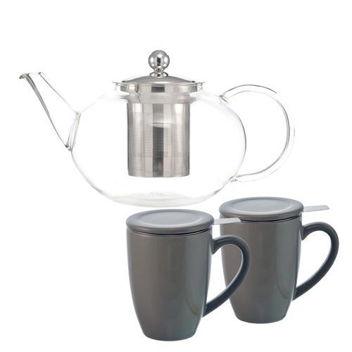 Théière Joliette et ensemble de 2 tasses en céramique à infuseur Kassel de Grosche®