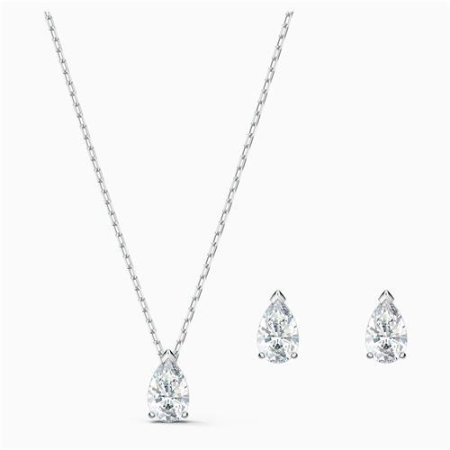 Ensemble collier et boucles d'oreilles Attract Pear de Swarovski® (blanc)