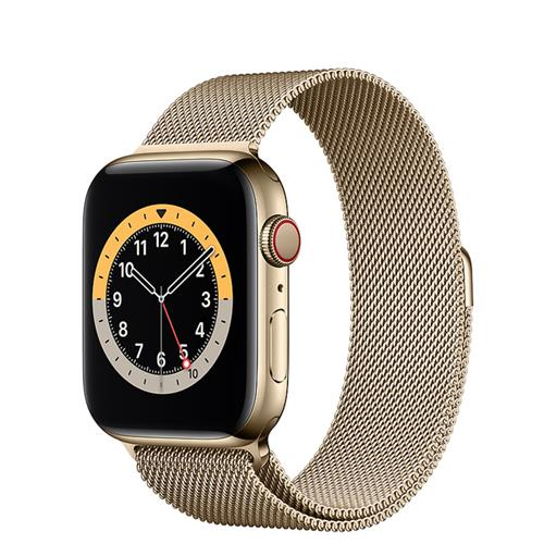 Apple Watch Series 6 GPS + Cellular, 40-mm Gold Stainless Steel Case with Gold Milanese Loop