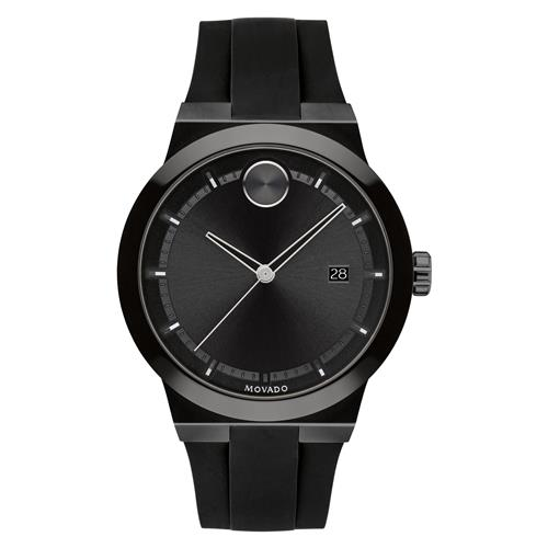 Movado Bold Fusion Watch - 42 mm, Black on Black with Black Silicone Strap