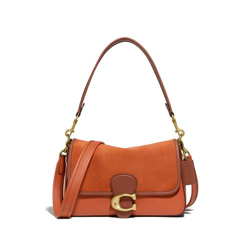 Coach® Soft Tabby Shoulder Bag in Mixed Leather with Suede Flap