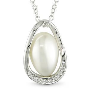 Delmar Freshwater Pearl & Diamond Pendant with Chain
