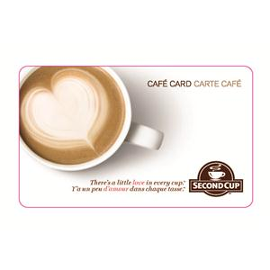 Carte Café Second Cup de 25 $